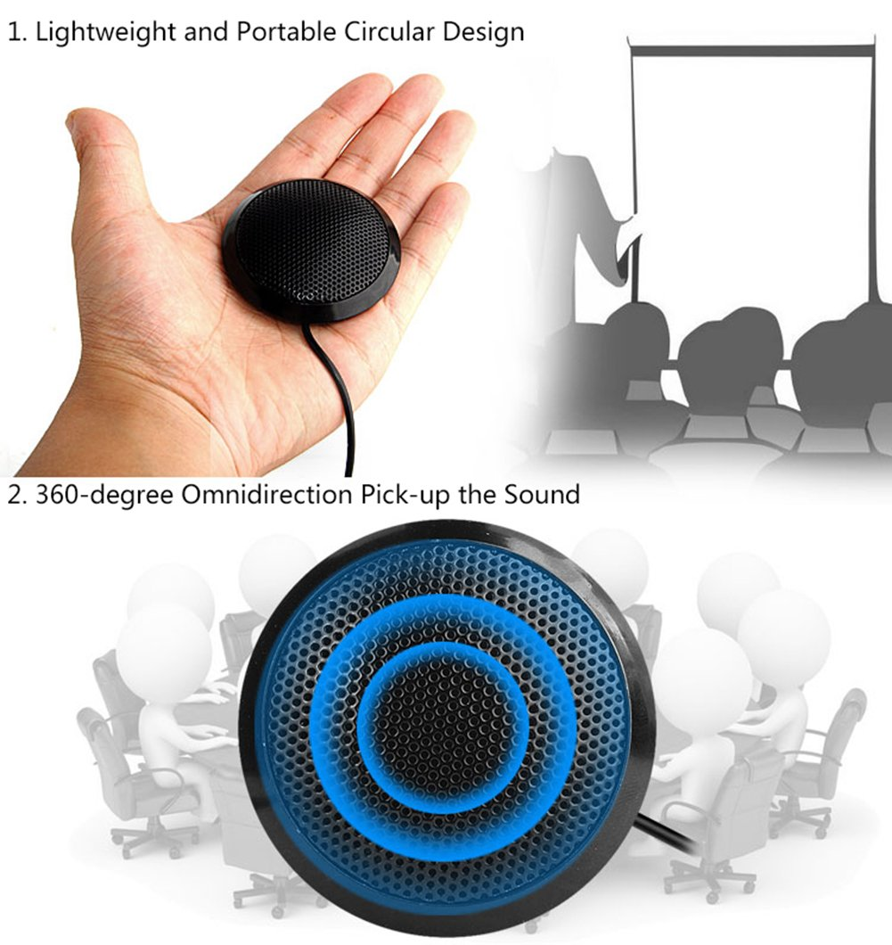 eBerry USB Boundary Microphone, Omnidirectional Desktop Conference Meeting Mic with 9.6 Feet USB Cable for Teleconferencing Meetings, Desktop Computer Use (Dimension:2.7 x 2.7 x 0.6 Inch) by eBerry (Image #5)