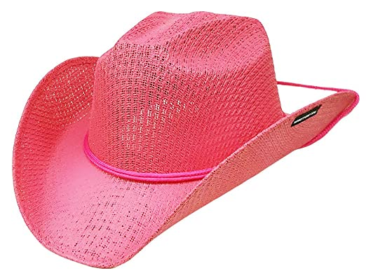 Modestone Kids Straw Cowboy Hat Chinstring   Sizes for Small Heads   Pink   Amazon.co.uk  Clothing f761de0010b