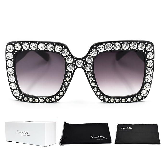 f484e86171554 SamuRita Elton Square Diamond Rhinestone Sunglasses Novelty Oversized  Celebrity Shades(Black Frame Black Gradient