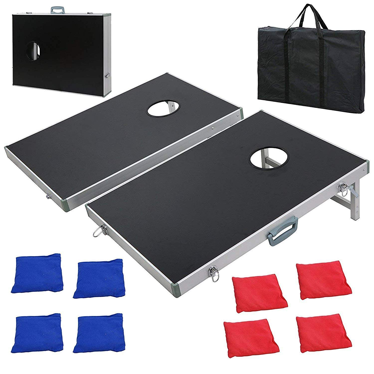 F2C Portable Aluminum/PVC Framed Bean Bag Cornhole Toss Game Set Boards 3FT 2FT/4FT 2FT W/ 8 Bean Bags and Carrying Case| Original Black, Classic Red& Blue to Choose (3FT2FT Black Aluminum)