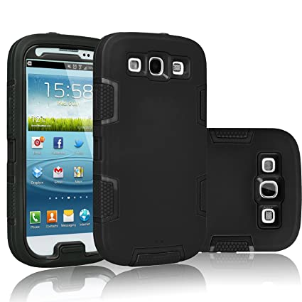Tekcoo Galaxy S3 Case, [Troyal Series] [Black/Black] Hybrid Shock Absorbing Shock Dust Dirt Proof Defender Rugged Full Body Hard Case Cover Shell for ...