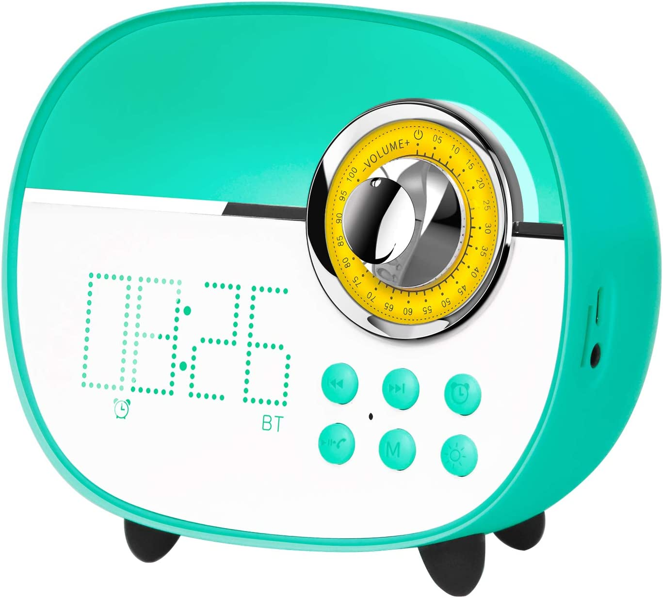 Handsfree Call Green LEMEGA CR1+ Portable Alarm Clocks Radios with Wireless Bluetooth Speaker Built-in Battery Colorful LED Lighting