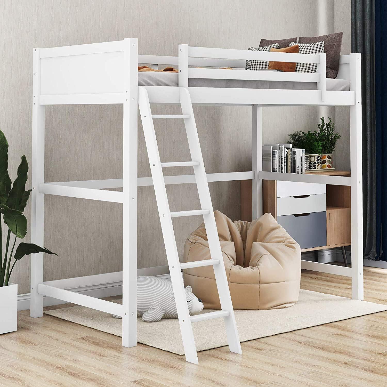 Amazon Com Ladder Twin Bunk Wooden Loft Bed Over Desk Kids Teen Bedroom White Wood Furniture Legendary Yes