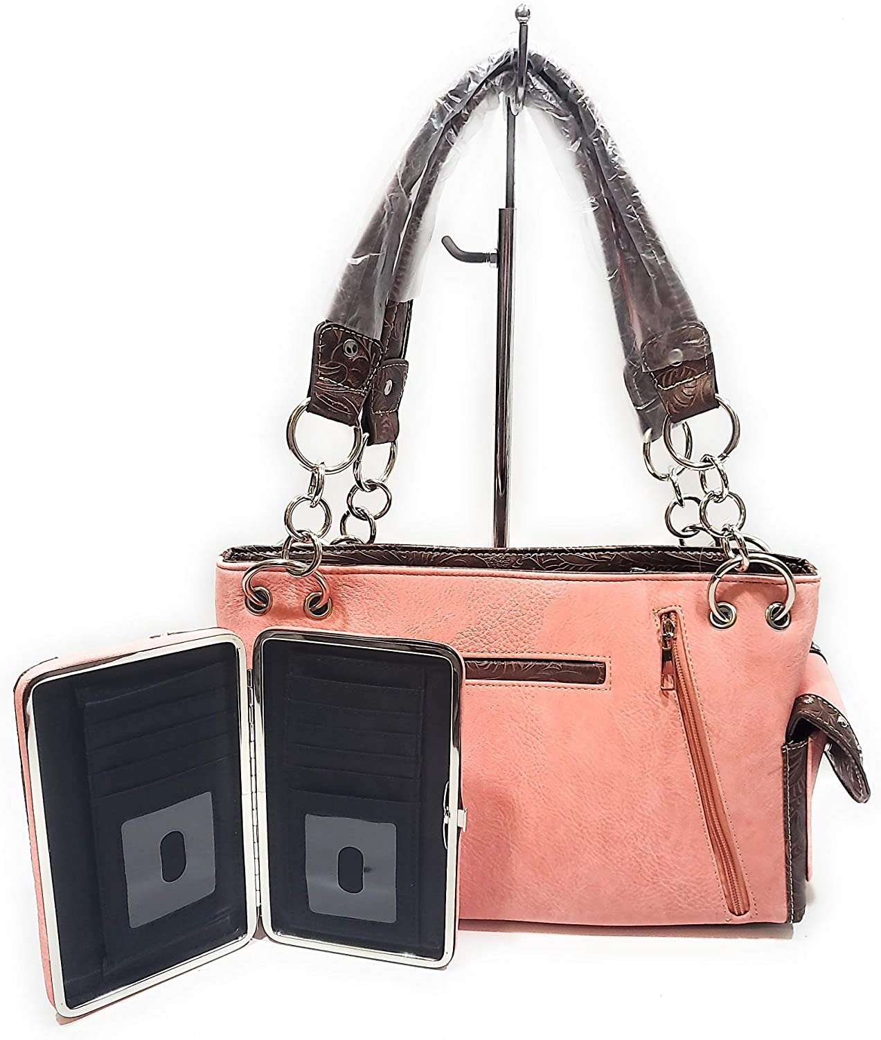 Coral orange peach BHW Rhinestone Turquoise Cross Wings Concealed Carry CCW Purse Wallet Jp