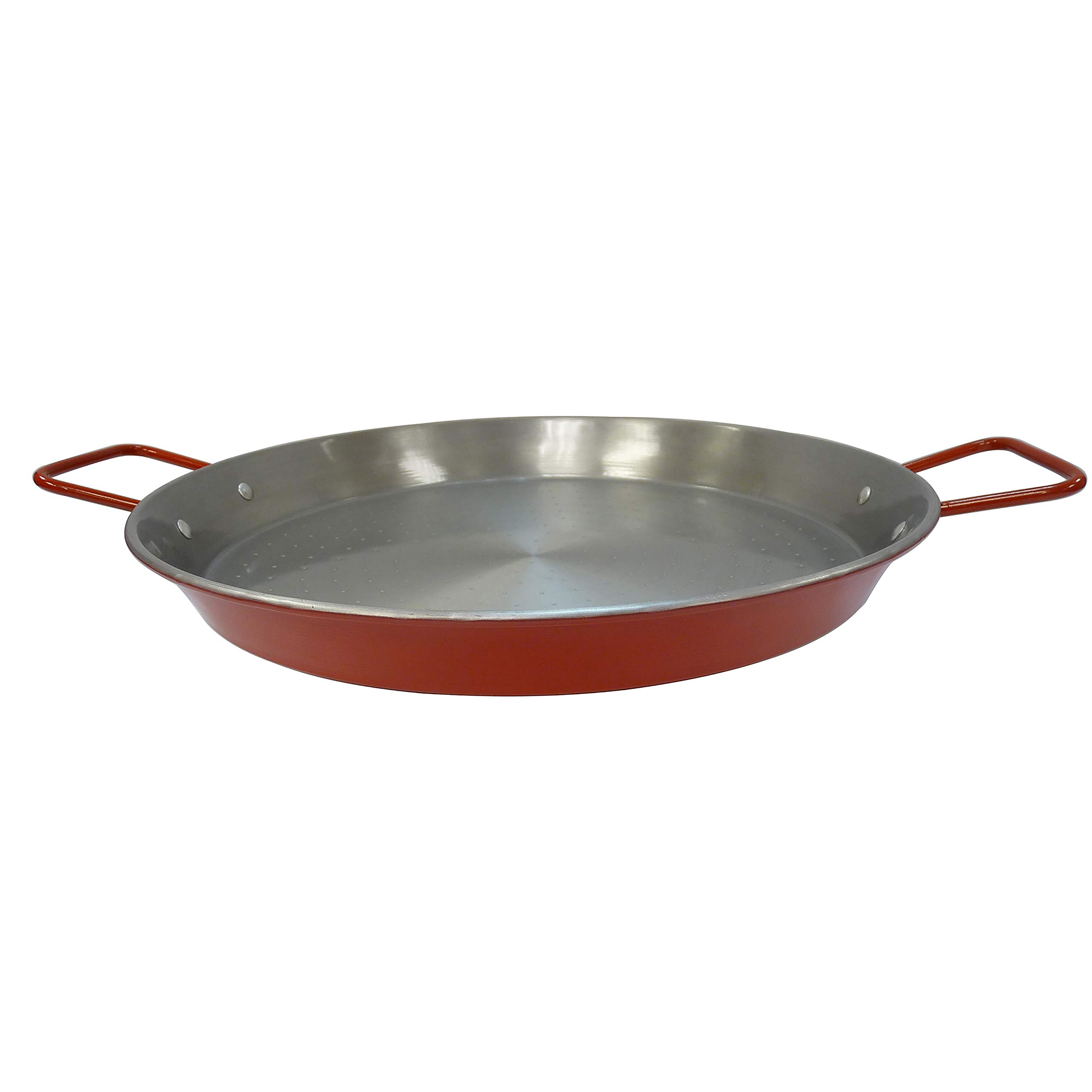 IMUSA USA CAR-52031T NonCoated Aluminized Paella Pan 15-Inch, Red, 15 Inch by Imusa
