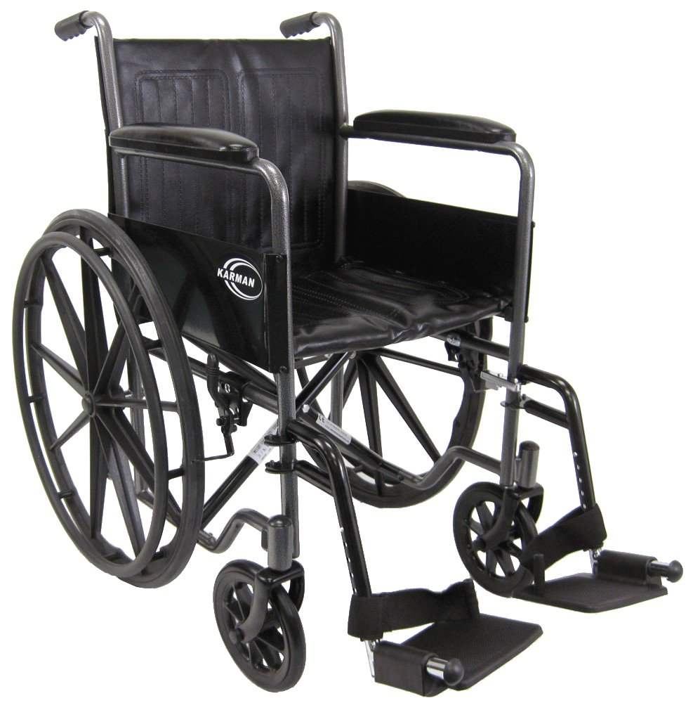 Karman Healthcare KN-800T Deluxe Standard Wheelchair with Fixed Armrests, Silver Vein, 18 Inches Seat Width