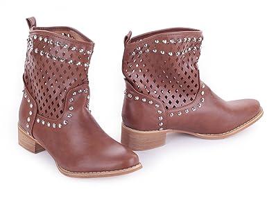 a292e794cd1cd Damenschuhe Cowboy Stiefel Stiefeletten Biker Boots mit Lochmuster und  Nieten Leder Optik