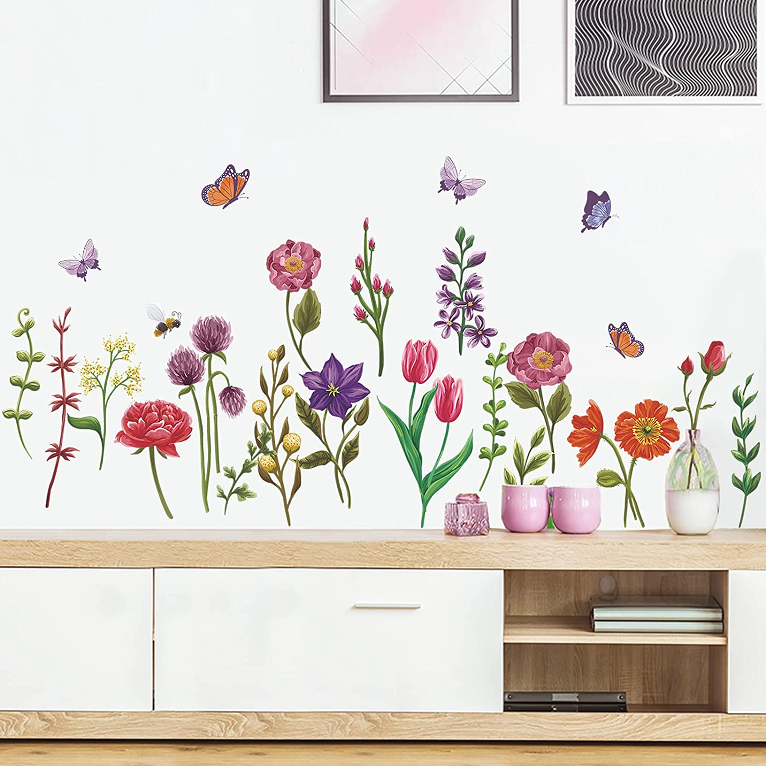 Watercolor Garden Flower Wall Decals 24PCS Peel and Stick Removable Floral Butterfly Wall Art Stickers Bathroom Bedroom Classroom Office Wall Decor
