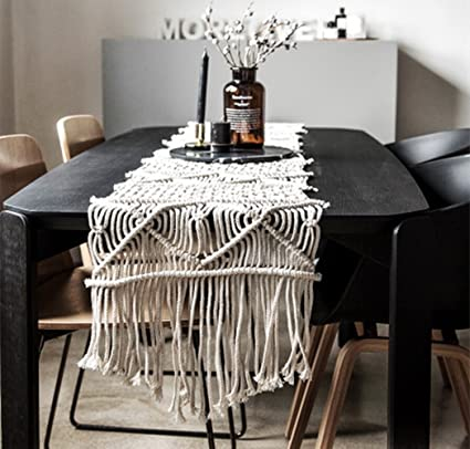 LEEVAN Handmade Macrame Table Runner Gorgeous Handwoven Wedding Table  Decoration Wedding Table Runner With Long Tassels