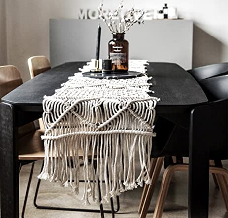 Amazon leevan handmade macrame table runner gorgeous leevan handmade macrame table runner gorgeous handwoven wedding table decoration wedding table runner with long tassels junglespirit Gallery