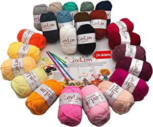 LovLim Crochet Yarn kit, 24 Soft Cotton Yarn skeins for Crochet and Knitting,1500+ Yards Craft DK Yarn, Free Crochet/Amigurumi Patterns, Perfect Starter kit