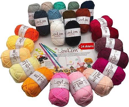 LovLim Kit de hilo de ganchillo, 24 madejas de hilo de algodón suave para ganchillo y tejer, 1800 yardas de hilo DK, patrones de ganchillo/amigurumi, kit de inicio perfecto: Amazon.es: Hogar
