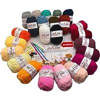 LovLim Crochet Yarn kit, 24 Soft Cotton Yarn skeins for Crochet and Knitting, 1800 Yards Craft DK Yarn, Free Crochet…