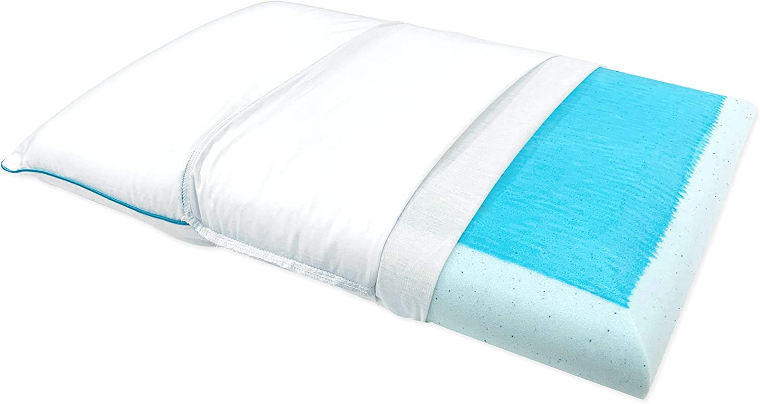 Bluewave Bedding Ultra Slim Max Cool Gel Memory Foam Pillow for Stomach and Back Sleepers