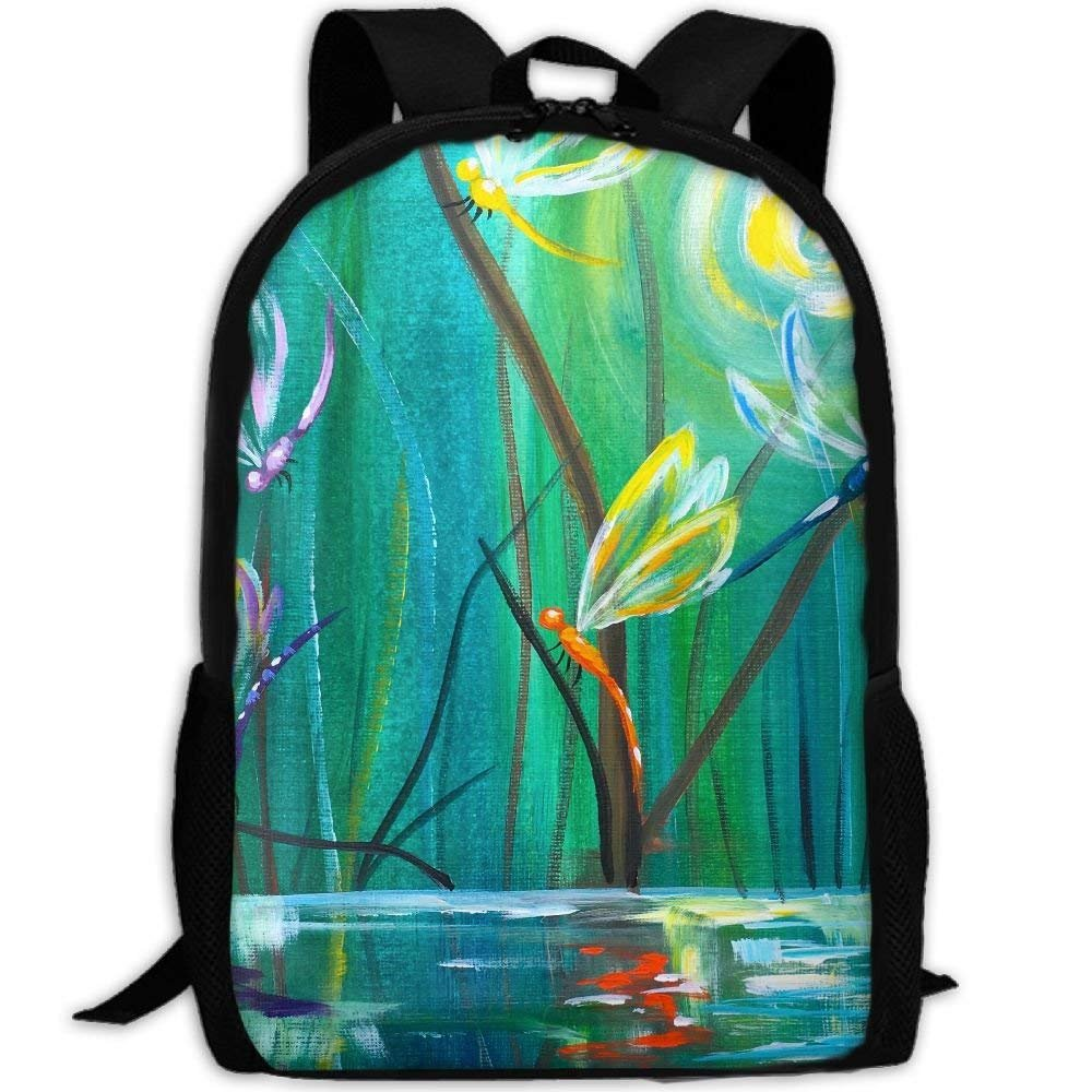 YIXKC Adult Backpack Colorful Dragonflies Painting Custom Casual Gift School Bag Travel Daypack