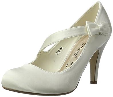 Ajvani - Zapatos de vestir para mujer, color blanco, talla 38