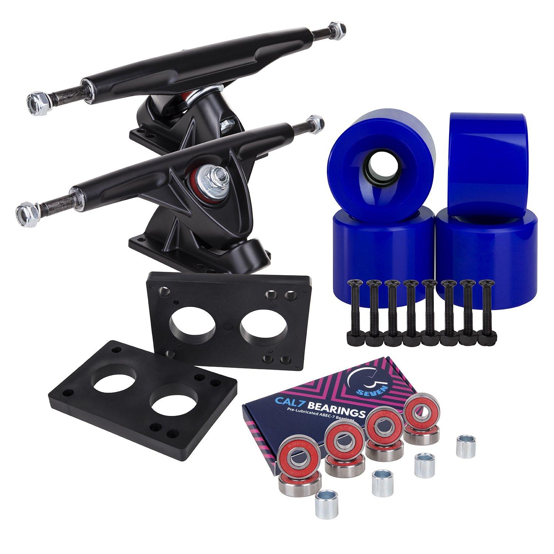 Longboard 180mm Trucks + 70mm Wheels + Bearings Combo SET (Solid / Blue / Black) by Cal 7