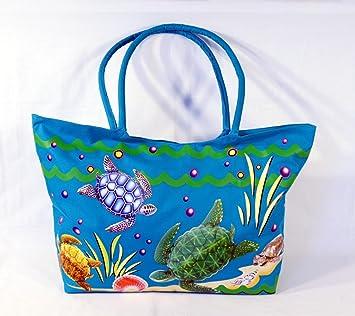 Amazon.com: Waterproof Jumbo Blue Canvas Beach Tote Bag Sea Turtle ...