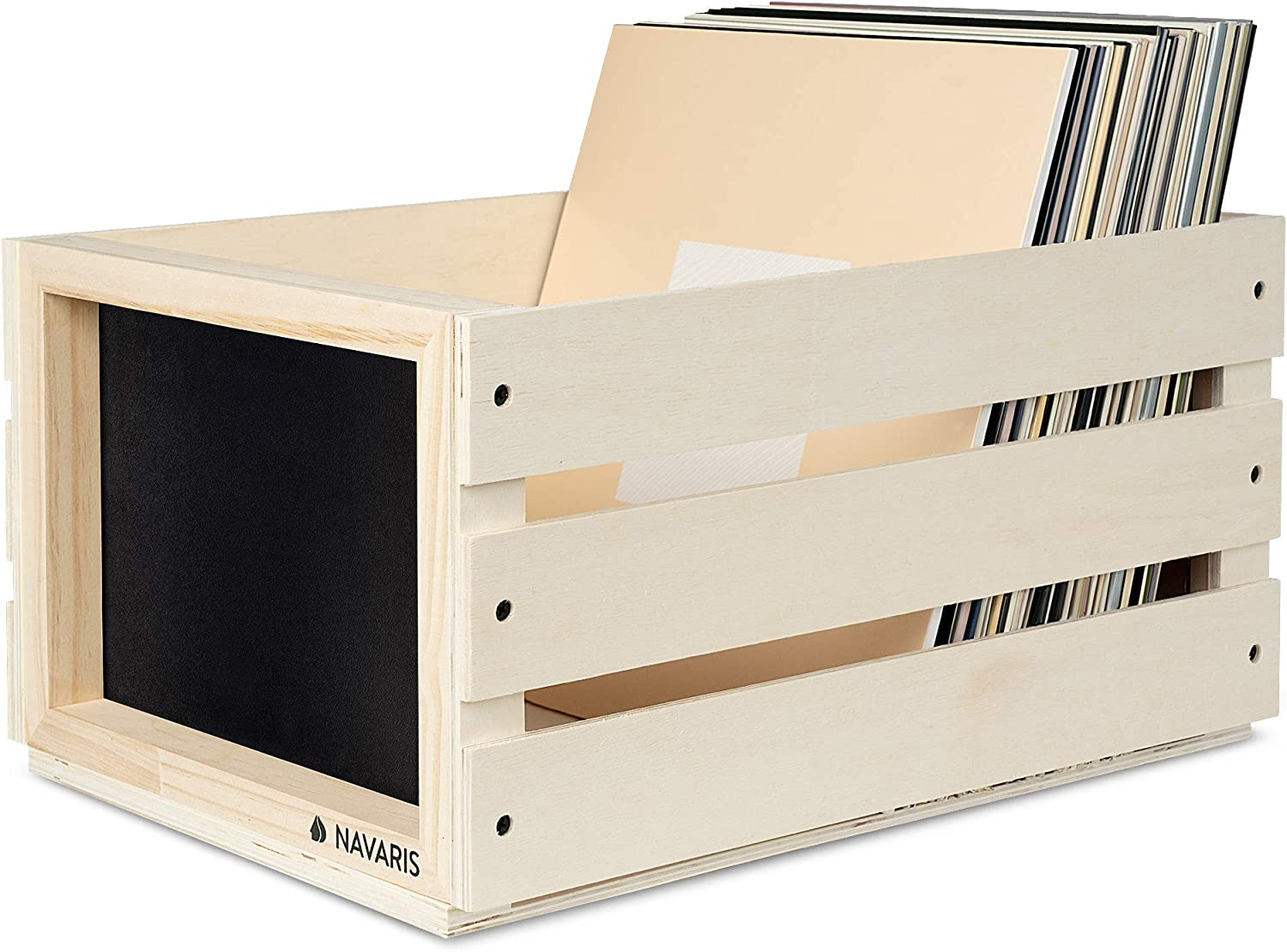 Navaris Wood Record Crate Vinyl Album Storage Holder Box Wooden Case with Chalkboard Sign Board White Holds up to 80 LP Records