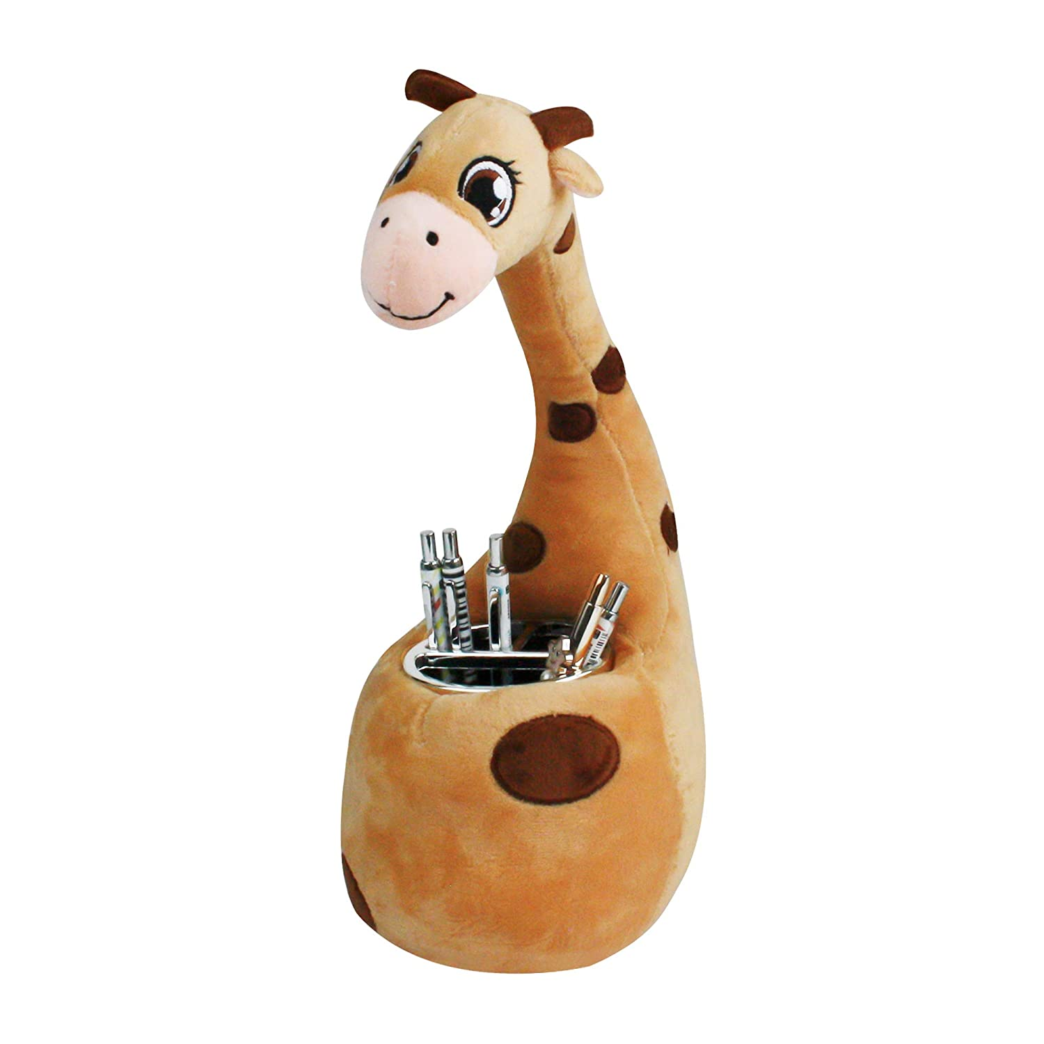 Emartbuy Cute Pencil Pen Stand Holder Container Desk Tidy Giraffes Brown