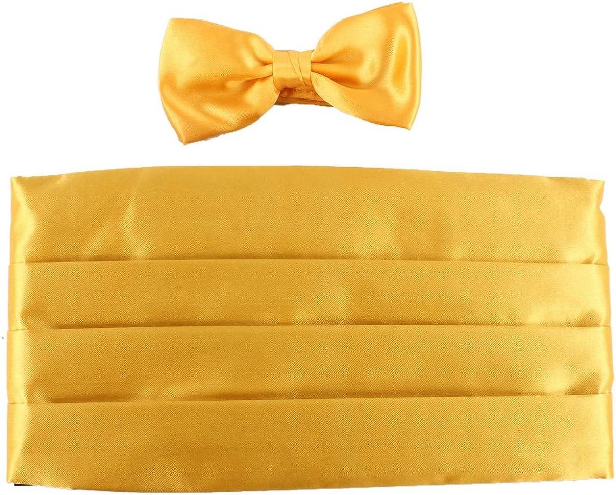 Yellow Knightsbridge Neckwear Mens Bow Tie and Cummerbund Set