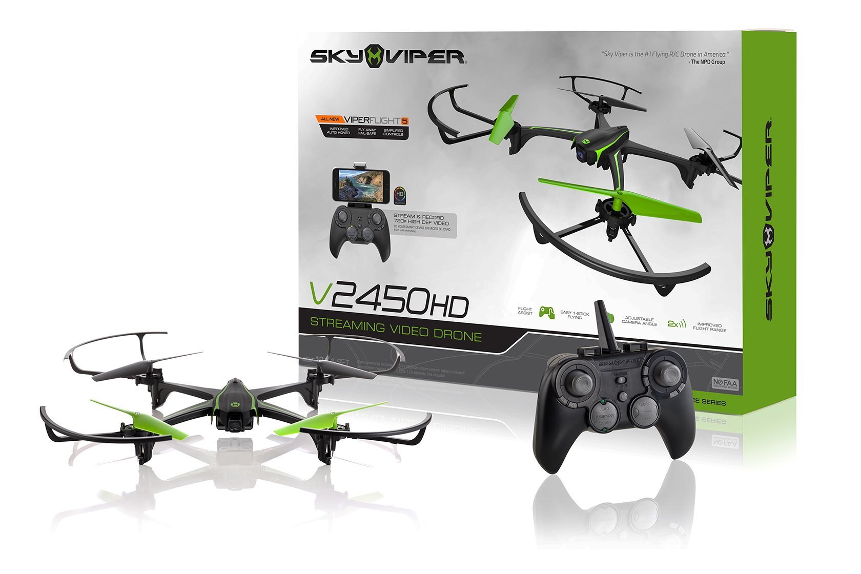 Sky Viper v2450HD Streaming Drone with Flight Assist & 2X Improved Flight Range - 2017 Edition
