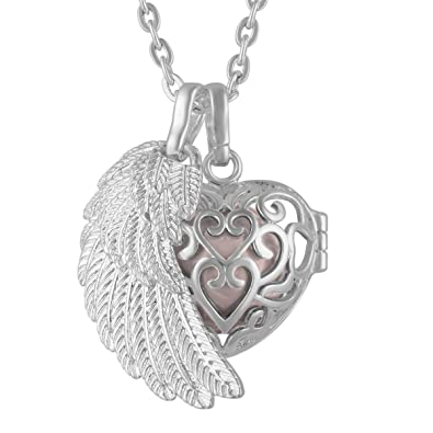 Eudora Harmony Ball Necklace Pendant Lockets Sterling Silver Angel Wing SN71QG9