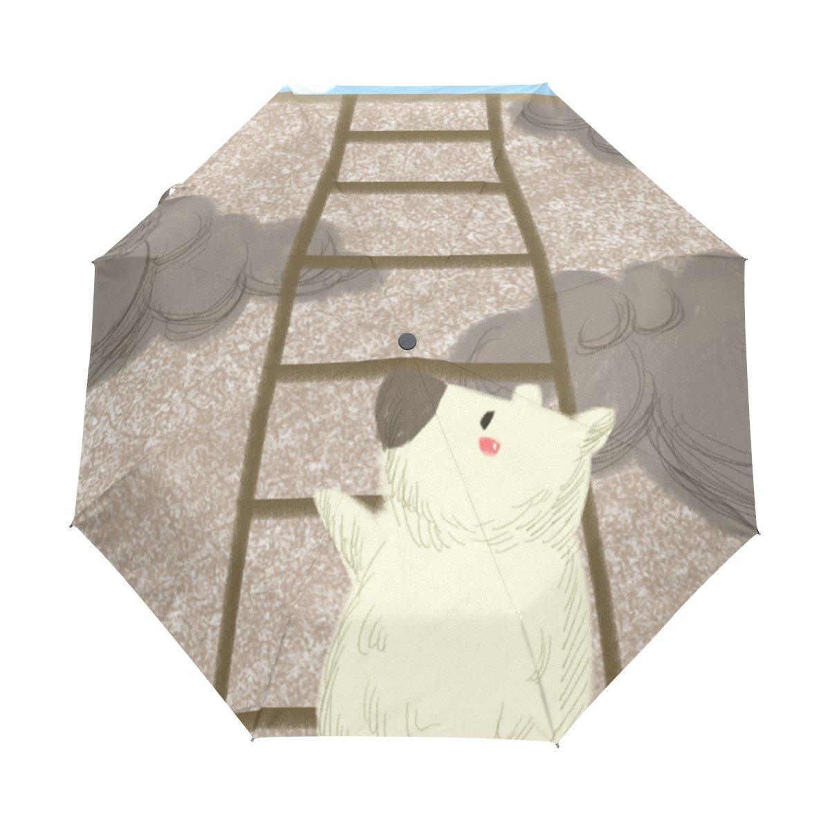 Senya Saobao防風と防雨トラベル傘with自動開いて閉じFolding Bear階段ポータブル折りたたみ式太陽雨傘 B07FFSVXMH