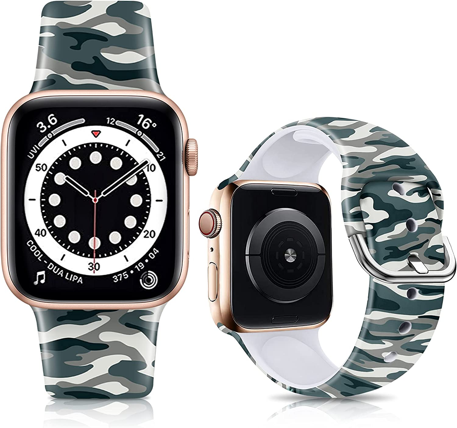 IKANFI Bands Compatible with Apple Watch Band 38mm 40mm 42mm 44mm for Women Men Silicone Floral Pattern Printed Band Strap for iWatch Band SE Series 6 5 4 3 2 1 Wristband