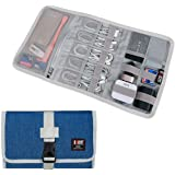 Electronic Organizer, BUBM Travel Cable Bag/USB Drive Shuttle Case/Electronics Accessory Organizer for Home Office, Light Blu