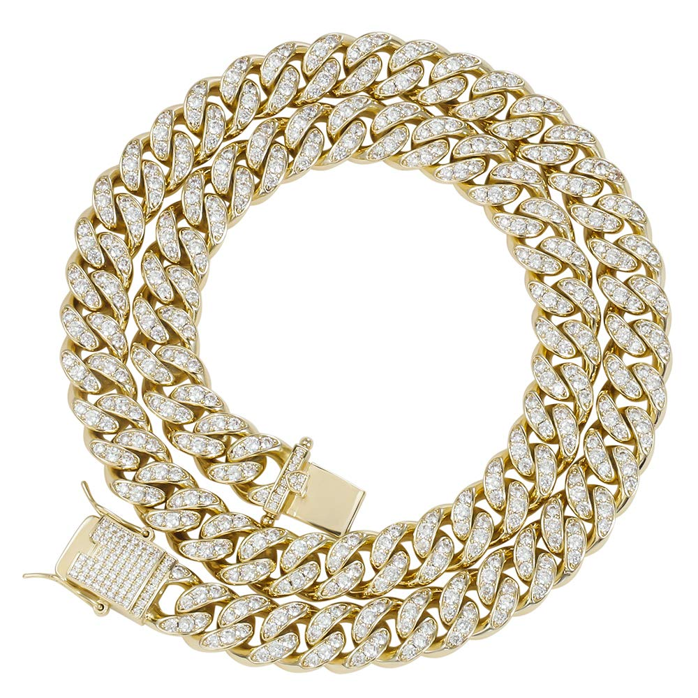 GOLD IDEA JEWELRY 12MM Bling Iced Out Cuban Link Chain -14k Gold Plated/White Gold Plated VVS Simulated lab Diamonds Hip Hop Necklace and Bracelet for Men Women
