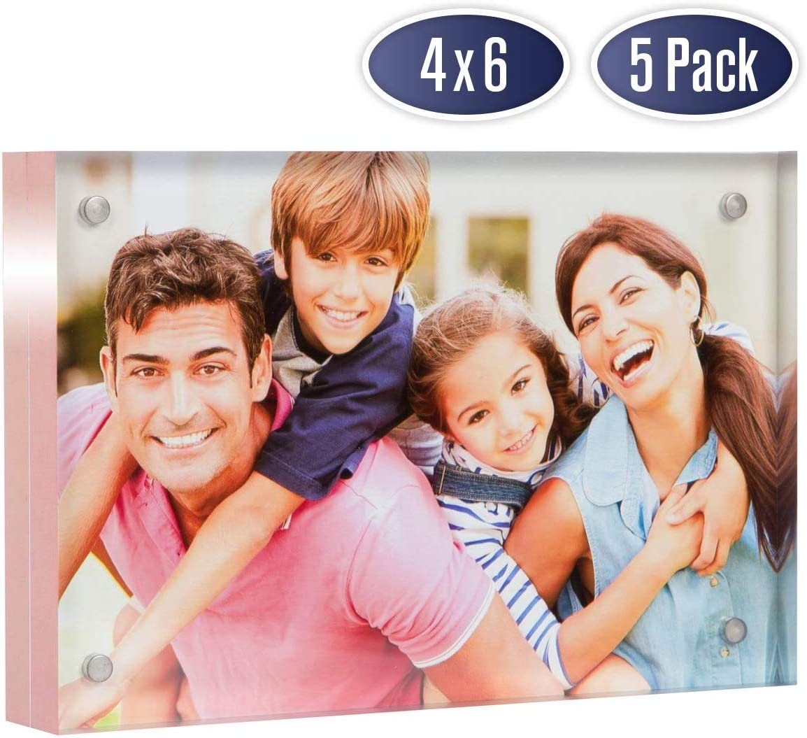 Acrylic Picture Frame 4x6 with Rose Gold Edges - Double Sided Magnetic Photo Frame, 24 mm Thick Clear Picture Frame, 4 x 6 Inches Acrylic Frame, Modern and Self Standing for Desktop Display (5 Pack)