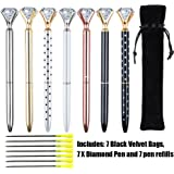 EVNEED 7PCS Diamond Pens Beautiful Metal Ballpoint Pen for Women,Coworkers,Hostess and Girlfriend