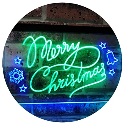 Merry Christmas Tree Star Bell Display Home Décor Dual Color LED Neon Sign Green & Blue 12 x 8.5 st6s32-j2038-gb Home Décor
