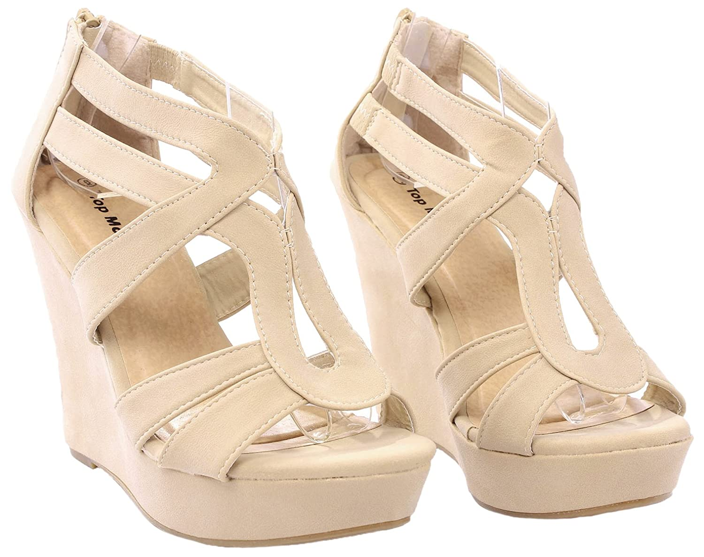 Women Lindy Comfort Gladiator Strappy Faux Leather/Nubuck Dress Platform High Wedge Sandals B0723HFZDB 5.5 B(M) US|Beige_l3