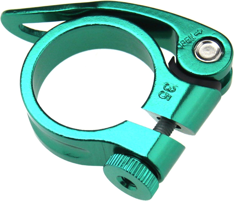 34.9mm Quick Release Bike Seat Post Clamp Aluminium Alloy Tube Clip for Mountain Bike Green