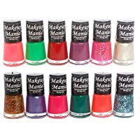 Makeup Mania Super Glam Nail Paints Combo of 12 Cool Shades (Red, Green, Orange, Pink, Silver etc)