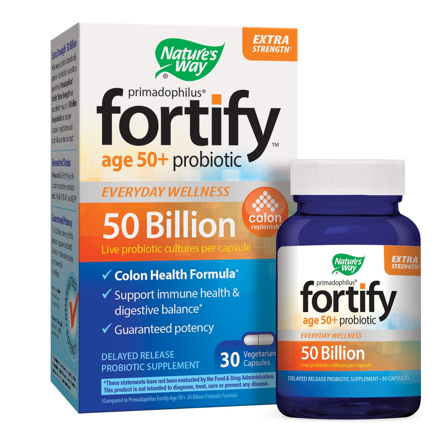 Natures Way Primadophilus Fortify Age 50+ Extra Strength Probiotic, Colon Health Formula, 50
