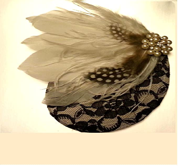 ... hair accessory,Black and White feather facinator Bridal Feather Fascinator, Feather Hair Piececlip, Wedding Hair Accessories: Amazon.co.uk: Clothing