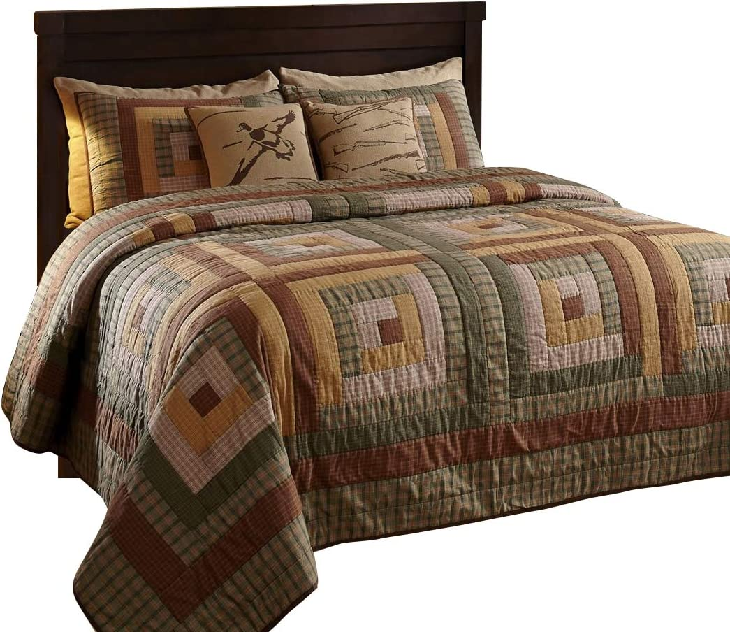 The BitLoom Co. Rustic & Lodge Quilts, Tallmadge Log Cabin 3 Piece Quilt Set, King