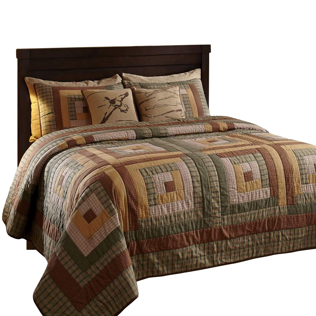 The BitLoom Co. Rustic & Lodge Quilts, Tallmadge Log Cabin 3 Piece Quilt Set, Queen