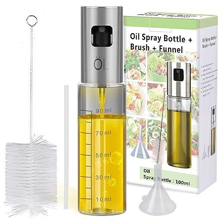 INVOKER Öl Sprüher Flasche 100ML, Olivenöl Glasflasche - Öl Essig Spender mit Bürste und Trichter für BBQ, Kochen, Grillen, P