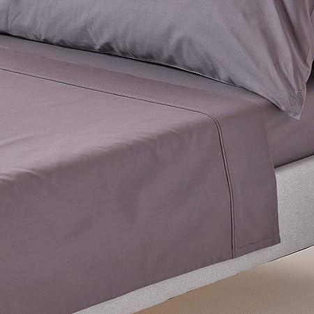 Homescapes - Juego de sábanas de color liso fabricado en 100% algodón egipcio de 200 hilos, gris oscuro, 180 x 255 cm: Amazon.es: Hogar