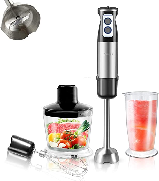 4-in-1 Immersion Hand Blender Powerful 600 W 6-Speed Electric 304 Stainless Steel Stick Blender with Chopper, Beaker, Whisk, Baby Food, Puree, Smoothies, Sauces, Soups, Multifunction Kitchen Appliance