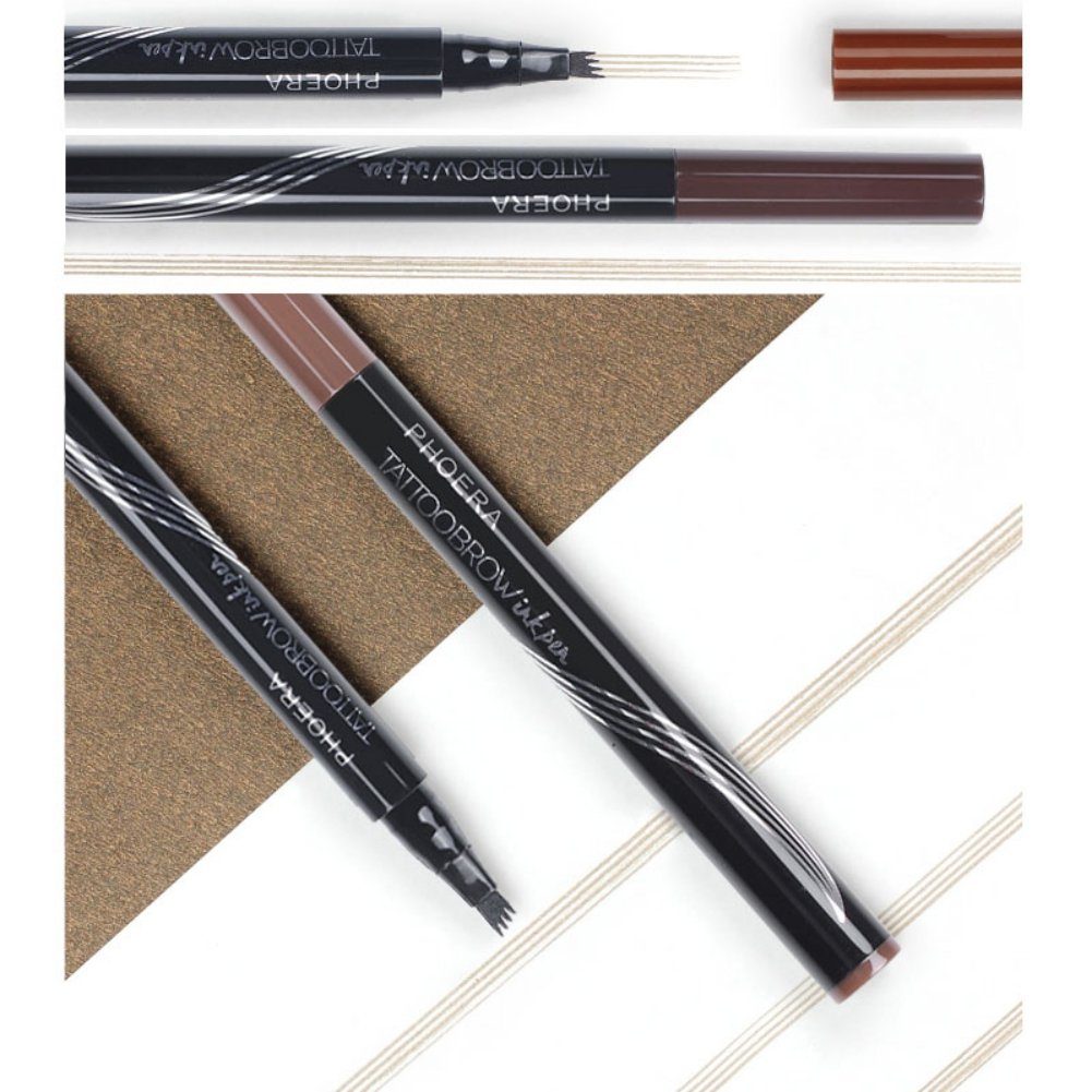Zhengpin Tattoo Eyebrow Pen with Four Tips Long-lasting Waterproof Brow for Eyes Makeup (2# BRUNETTE)
