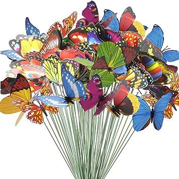 12 Pieces Garden Stake Butterfly Metal Decor Art Outdoor Pot Home DIY Craft
