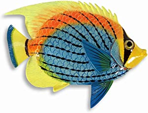 "Handpainted 8"" Blue Yellow Top Tropical Fish Replica Wall Mount Decor Plaque"
