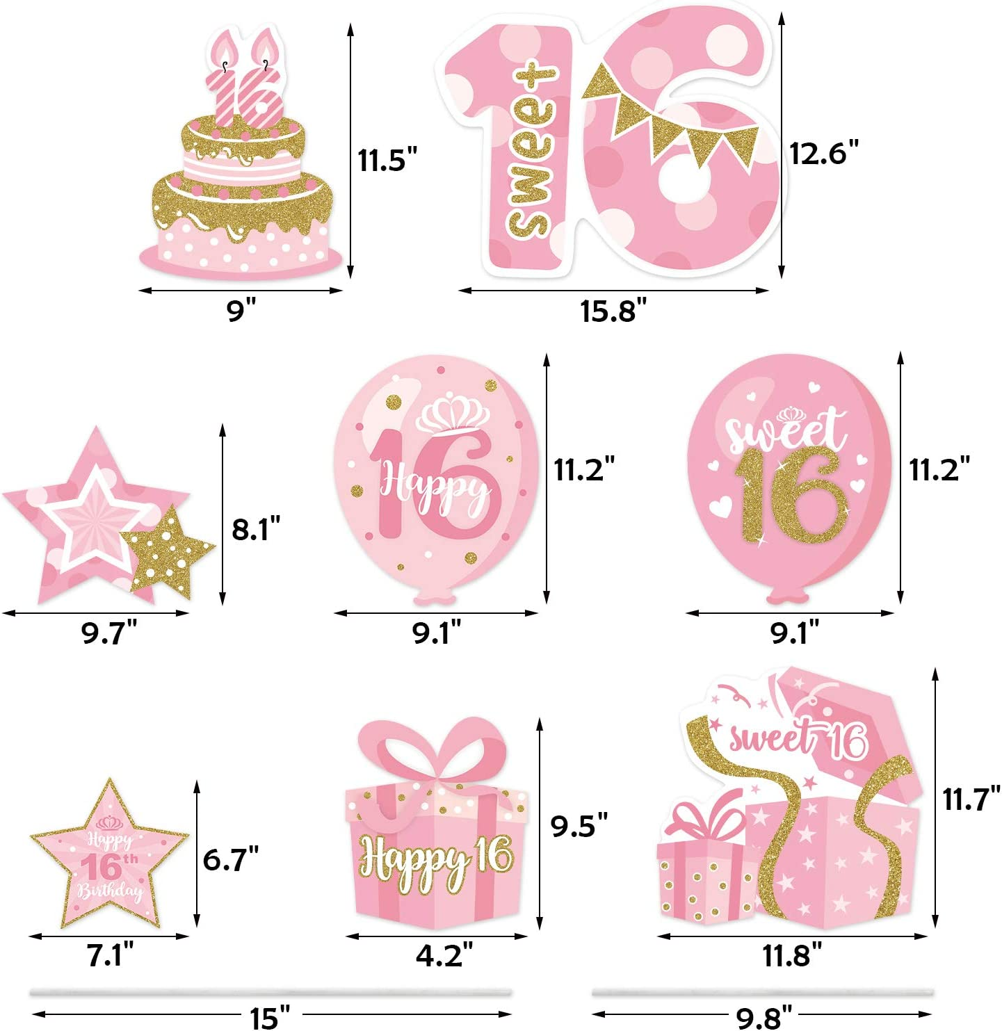 16th Birthday Yard Sign Cutouts with Stakes Happy Birthday Yard Signs Lawn Outdoor Pink and Gold Decorations for Girls Birthday Party Supplies Set of 8