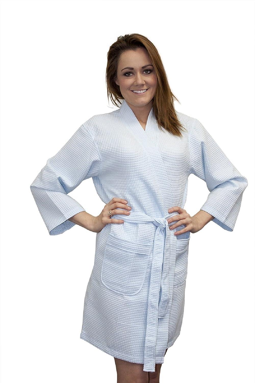 TowelBathrobe TowelRobes Thigh Length Waffle Weave Kimono Robes