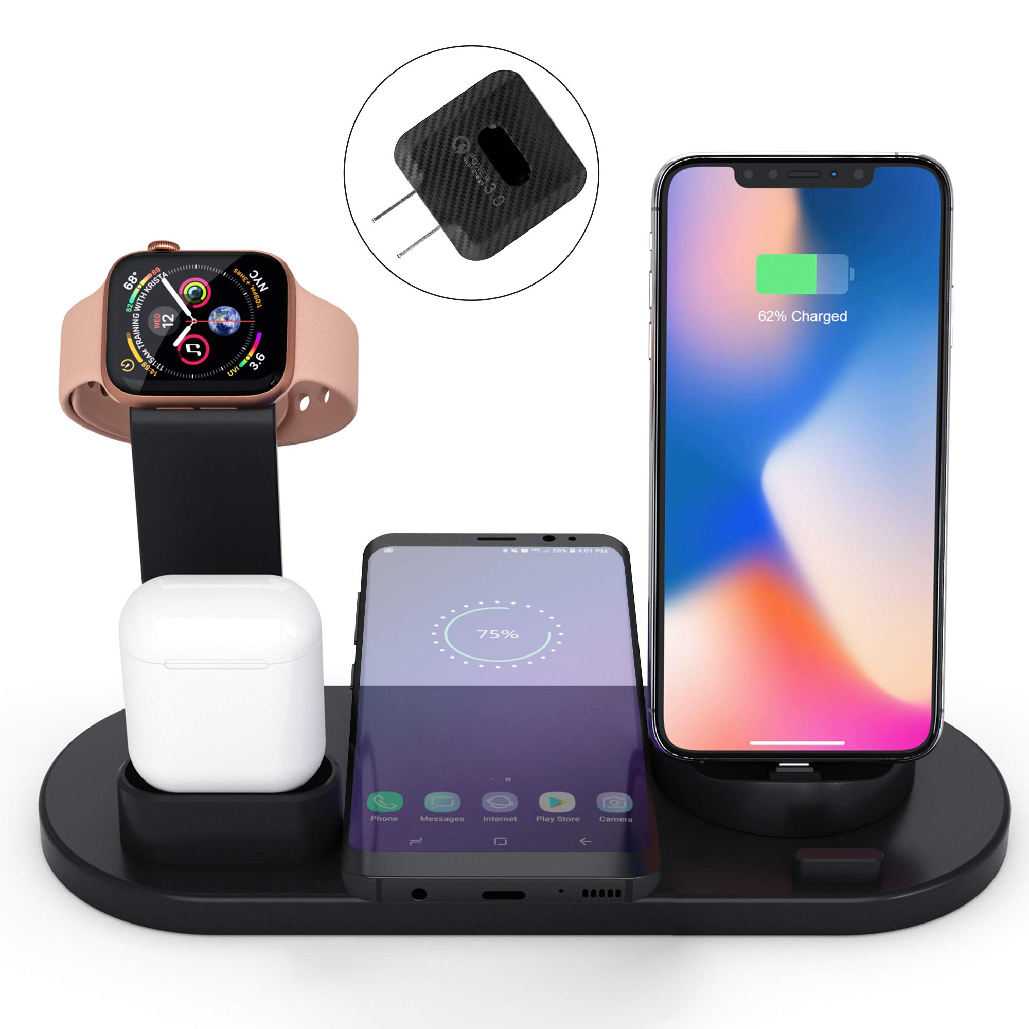 Elaime Fast Wireless Charger, 4 in 1 Wireless Charging Dock Compatible with Apple Watch 5 and airpods, Qi Wireless Charging Station Stand for iPhone 11 11 Pro Max X Xs XR Xs Max 8 8 Plus (Black) by Elaime